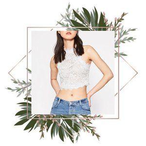 Zara white lace sleeveless crop top